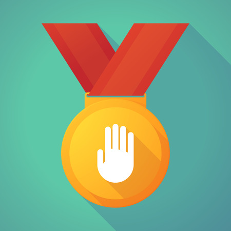 gold medal: Illustration of a long shadow gold medal with a hand Illustration