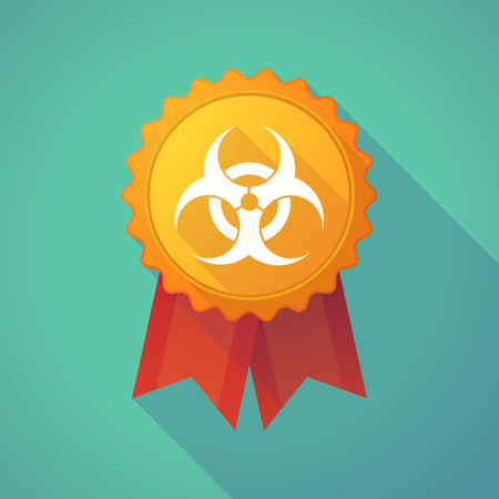 biohazard sign: Illustration of a long shadow badge with a biohazard sign