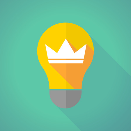 crown of light: Illustration of a long shadow light bulb with a crown Illustration