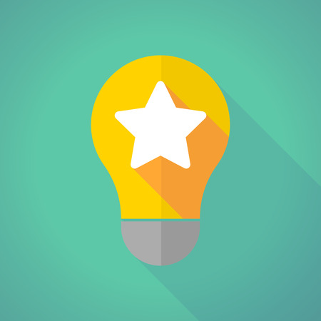 energy ranking: Illustration of a long shadow light bulb with a star Illustration