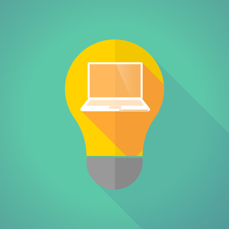 Illustration of a long shadow light bulb with a laptop