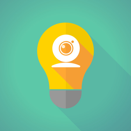 Illustration of a long shadow light bulb with a web cam Illustration