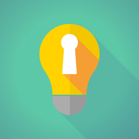 key hole: Illustration of a long shadow light bulb with a key hole
