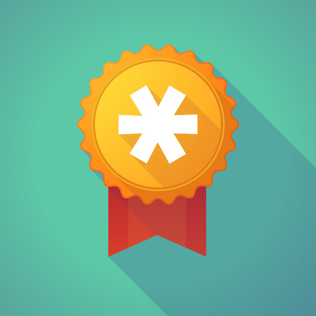 asterisk: Illustration of a long shadow badge icon with an asterisk Illustration