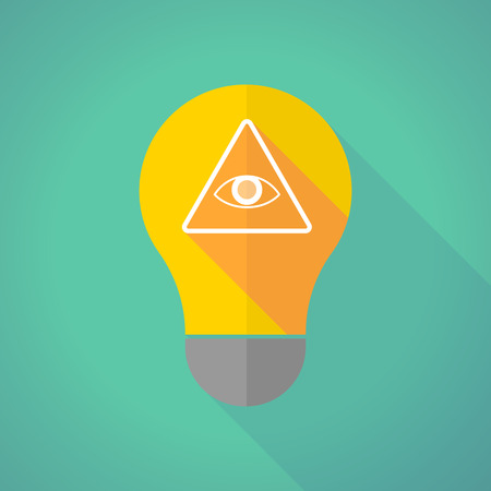 all seeing: Illustration of a long shadow light bulb with an all seeing eye Illustration
