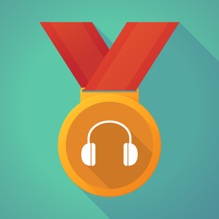 earphones: Illustration of a long shadow medal with a earphones