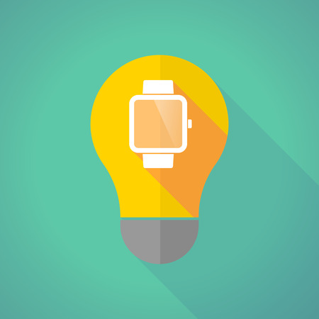 invent things: Illustration of a long shadow light bulb with a smart watch