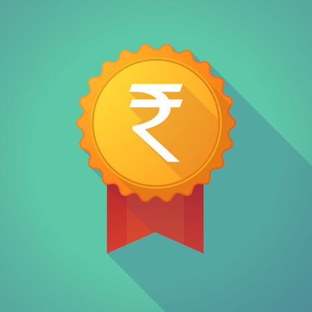 rupee: Illustration of a long shadow badge icon with a rupee sign