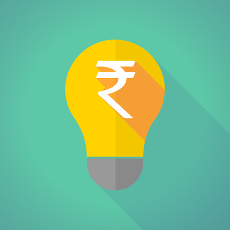 electric bulb: Illustration of a long shadow light bulb with a rupee sign