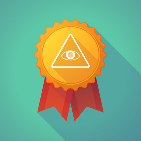 all seeing eye: Illustration of a long shadow badge icon with an all seeing eye