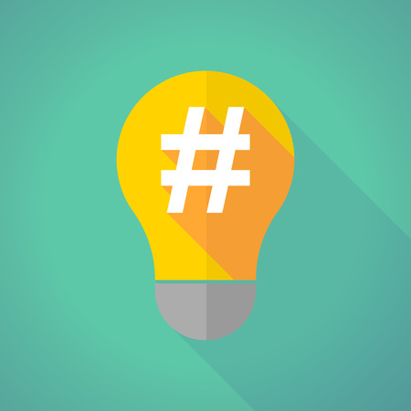 hash: Illustration of a long shadow light bulb with a hash tag