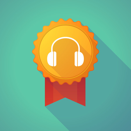 earphones: Illustration of a long shadow badge icon with a earphones