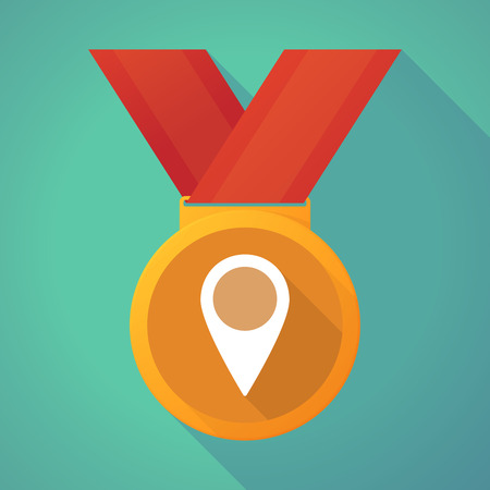 winning location: Illustration of a long shadow medal with a map mark