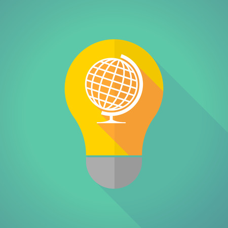 Illustration of a long shadow light bulb with a world globe