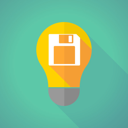 Illustration of a long shadow light bulb with a floppy disk Illustration
