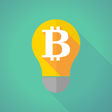 p2p: Illustration of a long shadow light bulb with a bit coin sign Illustration