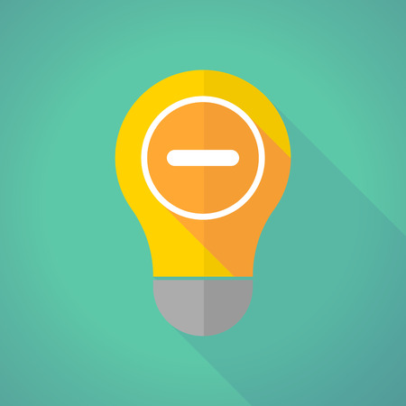 subtraction: Illustration of a long shadow light bulb with a subtraction sign Illustration