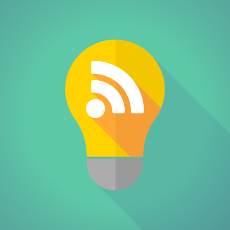 rss sign: Illustration of a long shadow light bulb with an RSS sign Illustration