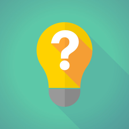 questions answers: Illustration of a long shadow light bulb with a question sign Illustration