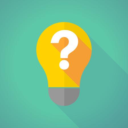 signo de interrogacion: Ilustración de una bombilla de luz larga sombra con un signo de interrogación Vectores