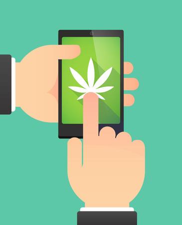 marihuana: Ilustraci�n de las manos de un hombre usando un tel�fono que muestra una hoja de marihuana