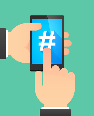 Illustration of the hands of a man using a phone showing a hash tag