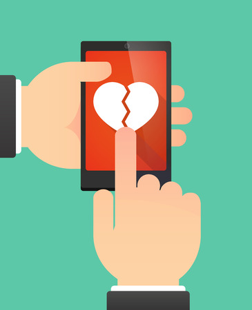 breakup: Illustration of the hands of a man using a phone showing a broken heart