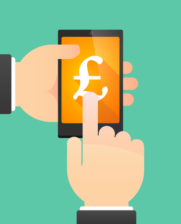 pound sign: Illustration of the hands of a man using a phone showing a pound sign