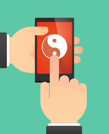 yinyang: Illustration of the hands of a man using a phone showing a ying yang Illustration