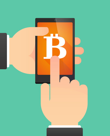 p2p: Illustration of the hands of a man using a phone showing a bit coin sign