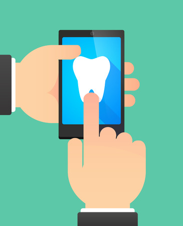 using mouth: Illustration of the hands of a man using a phone showing a tooth