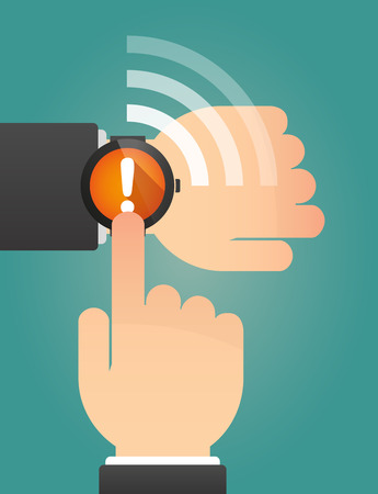 portable failure: Illustration of a hand pointing a smart watch with an exclamarion sign Illustration