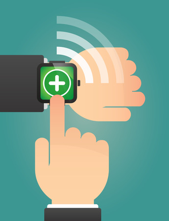 subtract: Illustration of a hand pointing a smart watch with a sum sign