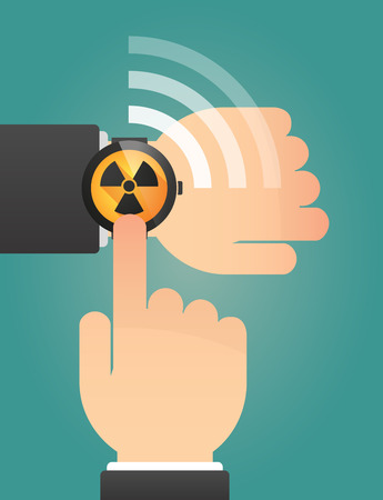 radio activity: Illustration of a hand pointing a smart watch with a radio activity sign