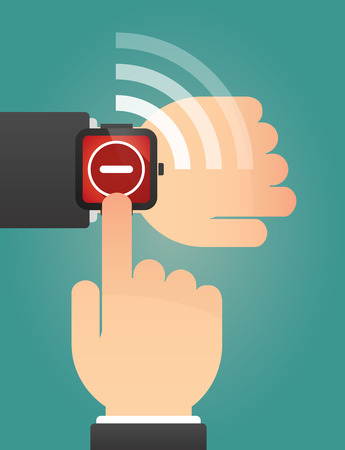 subtraction: Illustration of a hand pointing a smart watch with a subtraction sign Illustration