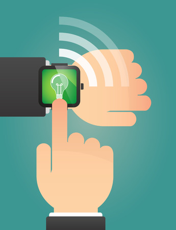 invent things: Illustration of a hand pointing a smart watch with a light bulb