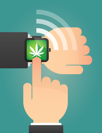 marihuana: Illustration of a hand pointing a smart watch with a marijuana leaf