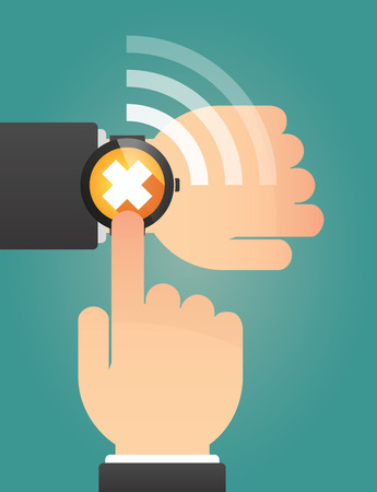 alerting: Illustration of a hand pointing a smart watch with an irritating substance sign