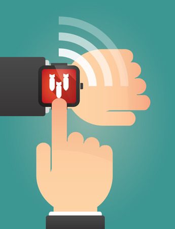bombs: Illustration of a hand pointing a smart watch with bombs