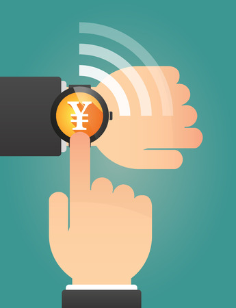 yen sign: Illustration of a hand pointing a smart watch with a yen sign Illustration