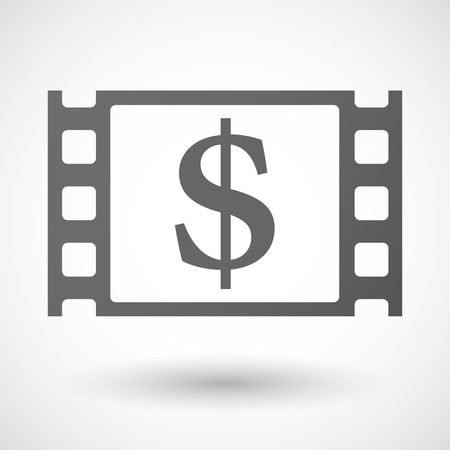 documentary: Illustration of a 35mm film frame with a dollar sign