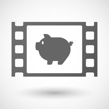 35mm: Illustration of a 35mm film frame with a pig