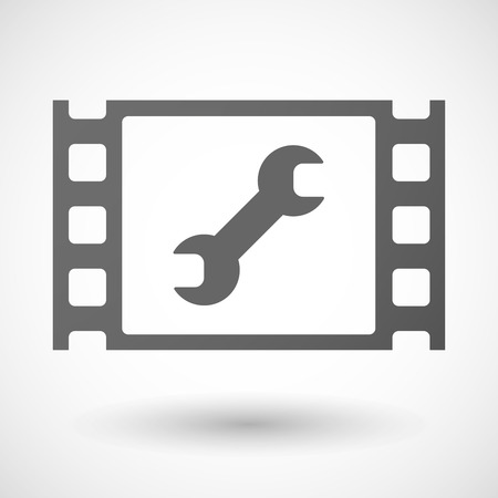 monkey wrench: Illustration of a 35mm film frame with a wrench Illustration