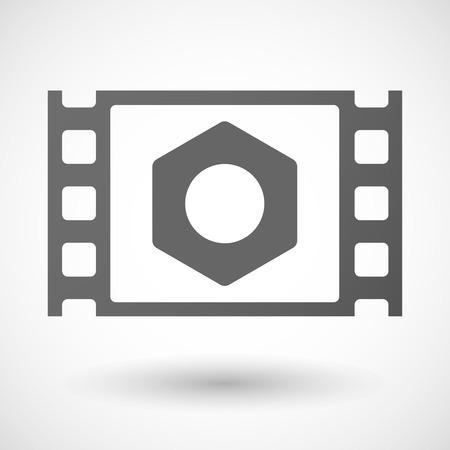 35mm: Illustration of a 35mm film frame with a nut Illustration