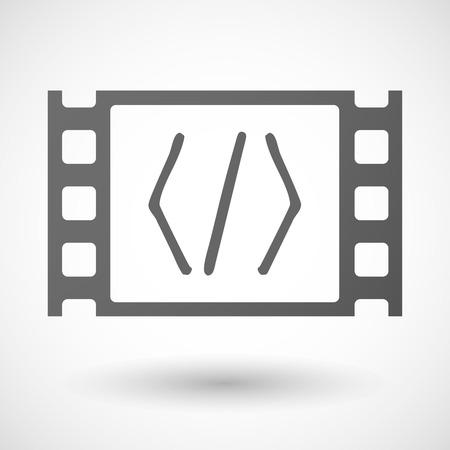 35mm: Illustration of a 35mm film frame with a code sign Illustration