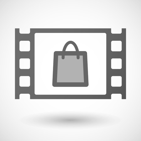 35mm: Illustration of a 35mm film frame with a shopping bag