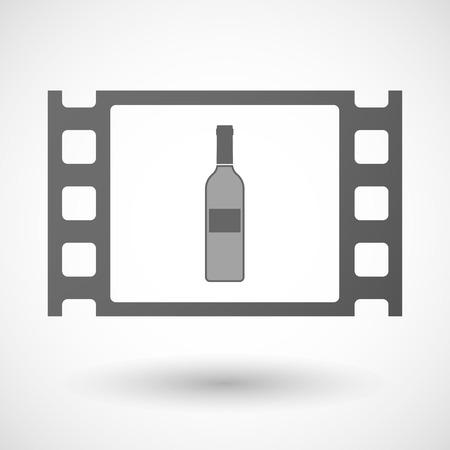 35mm: Illustration of a 35mm film frame with a bottle of wine Illustration