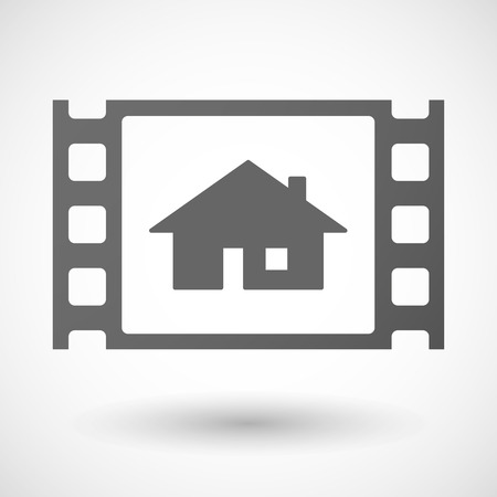 windows media video: Illustration of a 35mm film frame with a house