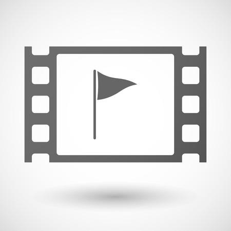 35mm: Illustration of a 35mm film frame with a golf flag