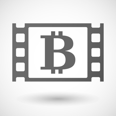 documentary: Illustration of a 35mm film frame with a bit coin sign Illustration